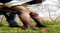 Black pantyhose sales girl having excited outdoor sex